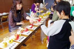 果物の品種の食べ比べコーナー
